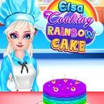 Elsa Cooking Rainbow Cake